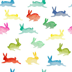 Seamless background with watercolor colorful rabbits