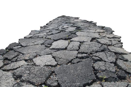 asphalt road with cracks, isolated on white background.