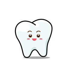 Happy  Dental Smile Tooth Mascot Cartoon Character isolated on w