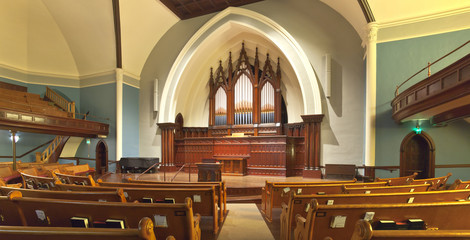 Church interior Portland Oregon.