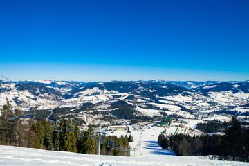 winter mountains, skiing resort