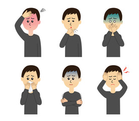 A set of six pose variations of sick young man