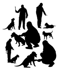 men with  dog silhouettes