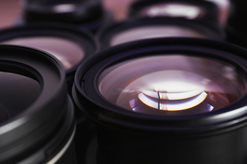 Set of modern camera lenses, closeup