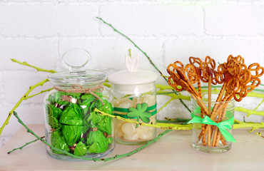 Sweets in jars for St Patrick Day