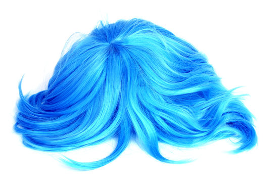 long-haired blue wig