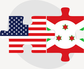 USA and Burundi Flags in puzzle
