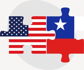USA and Chile Flags in puzzle