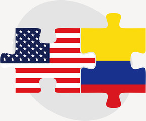USA and Colombia Flags in puzzle