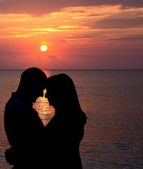 Romance under caribbean sunset