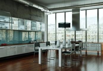 Aluminium Prints Airport Küchen Visualisierung