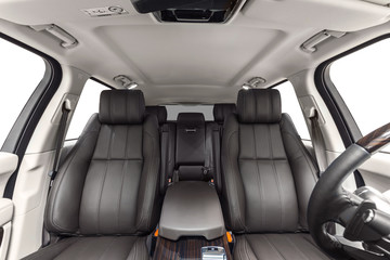 Car interior white with brown seats
