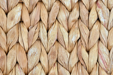 Twisted straw background from aquatic hyacinth, close up