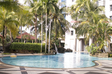 Tropical luxury pool at a hotel in Jakarta Indonesia