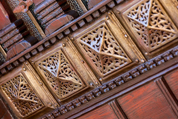 Vintage image of beautiful carved wooden door