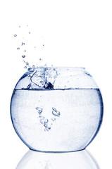 Water splash in fishbowl