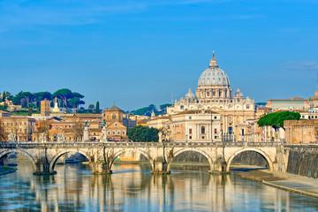 Fototapeta Bridge of Castel St. Angelo on the Tiber.Dome of St. Peter's bas obraz