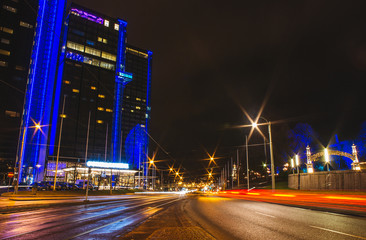 Light trails in the center of Gothenburg, Sweden