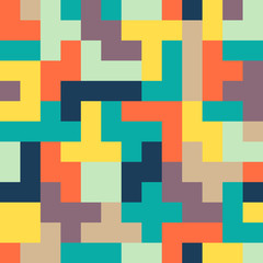 Seamless colorful Abstract background made of tetris shapes