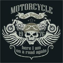 Motorcycle Design Template Logo. Skull rider - vector illustrati