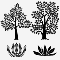 Trees and Bushes - Vector illustration