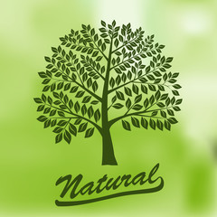 Tree with a Round Crown - Ecology, Natural, Organic Logo - vecto
