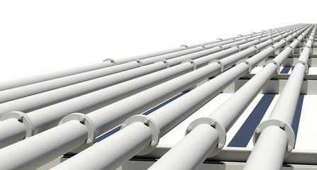Many white industrial pipes with flanges and supports. Isolated