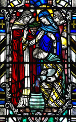 Fototapete - The wedding at Cana in stained glass (water into wine)