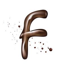 3d liquid chocolate letter F