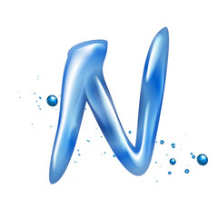 3d water letter N