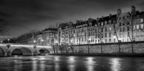 Ile Saint Louis and Pont Marie at night, Paris, France