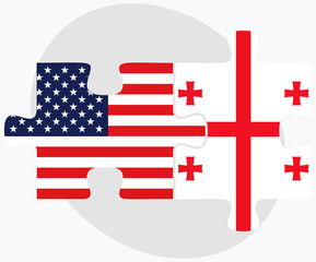USA and Georgia Flags in puzzle