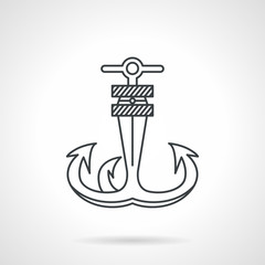 Anchor black line vector icon