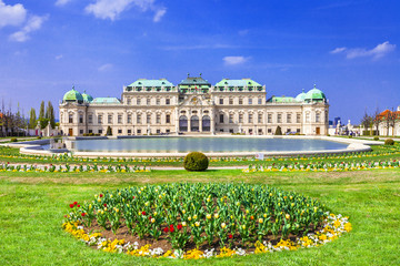 Poster Vienna Belvedere palace ,Vienna Austria ,with beautiful floral garden