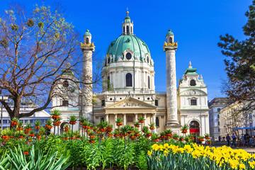 Aluminium Prints Vienna Vienna - beautiful baroque St. Charle's church