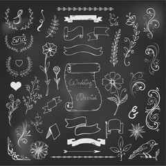 Chalk Catchwords, ribbons, ampersands design elements set