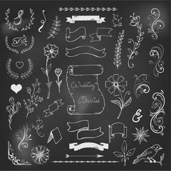 Chalk Catchwords, ribbons, ampersands design elements set