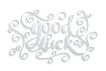 """Good Luck"" calligraphic lettering"