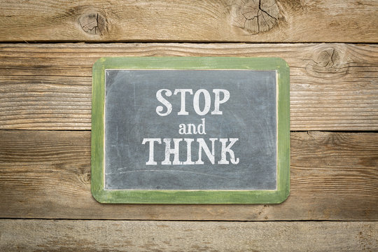 stop and think text blackboard