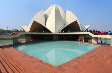 Deurstickers Delhi Lotus temple in New Delhi, India