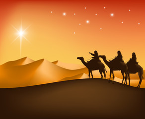 The Three Kings Riding with Camels in the Desert