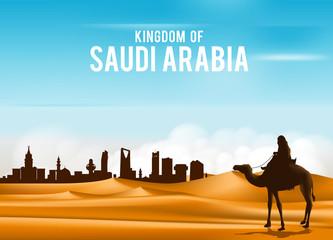 Arab Man Riding in Camel in Wide Desert Sands