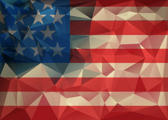Abstract polygonal triangle USA flag Geometric background