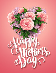 Happy Mothers Day. Card with beautiful flowers. Vector