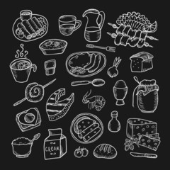 Healthy food hand drawn set