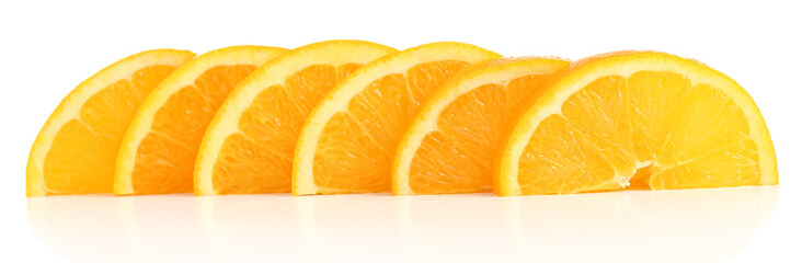 Photo sur Aluminium Tranches de fruits Juicy slices of orange isolated on white