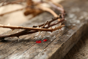 Crown of thorns with blood, close up