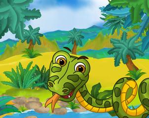 Cartoon scene - wild South America animals - snake - illustration for the children