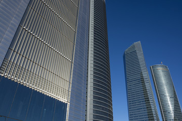 Low angle view of financial buildings, Madrid, Spain, Europe