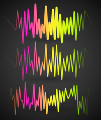 Waveforms, EQ, equalizer graphics with spectrum from red to gree